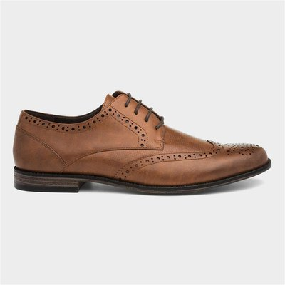 Beckett Mens Lace Up Tan Brogue Shoe