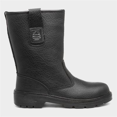 Groundwork Mens Black Leather Safety Rigger Boot