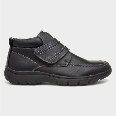 Cushion Walk Mens Black Easy Fasten Ankle Boot