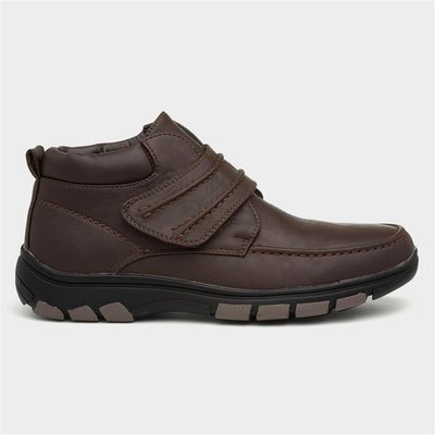 Cushion Walk Mens Brown Easy Fasten Ankle Boot