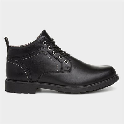 Urban Territory Mens Black Lace Up Ankle Boot