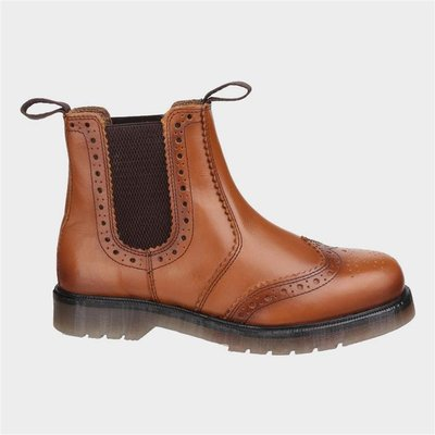 Amblers Mens Dalby Pull On Brogue Boot in Tan