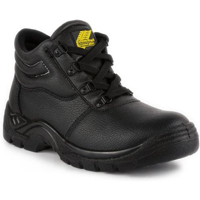 Earth Works Mens Black Coated Leather Safety Boot