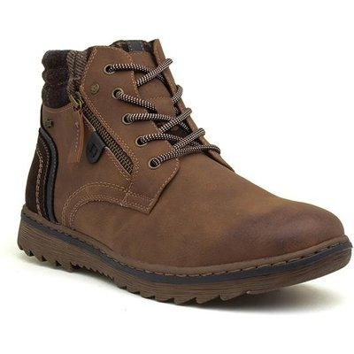 Relife Cognac Mens Lace Up Brown Ankle Boot