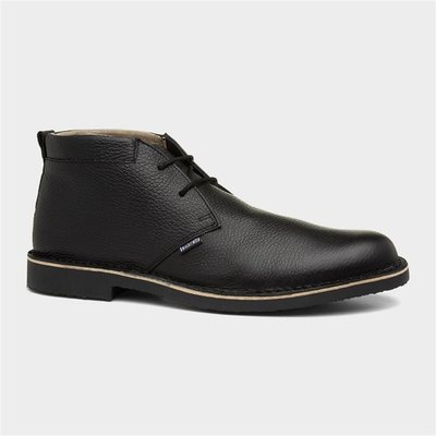 Lambretta Camden Mens Black Leather Desert Boot