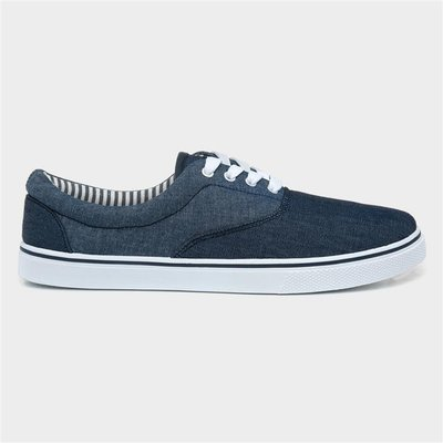 Red Fish Mens Blue Two Tone Lace Up Canvas