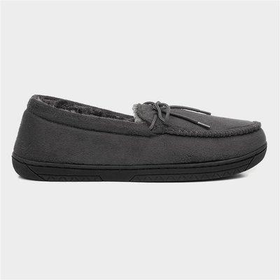 The Slipper Company Mens Moccasin Grey Slipper