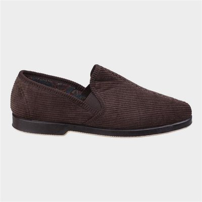 GBS Exeter Mens Twin Gusset Slipper in Brown