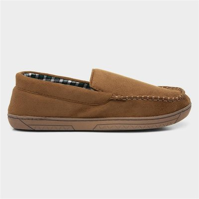 The Slipper Company Mens Moccasin Brown Slipper