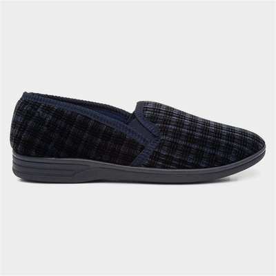 The Slipper Company Mens Twin Gusset Navy Slipper