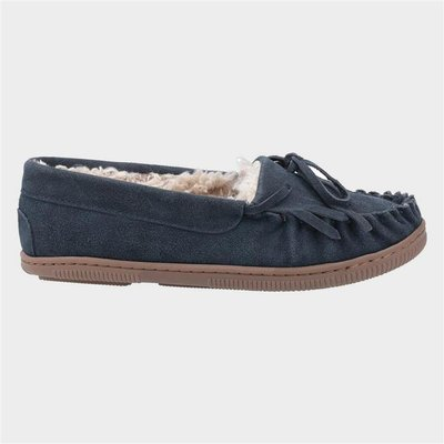 Hush Puppies Addy Womens Suede Slipper in Navy