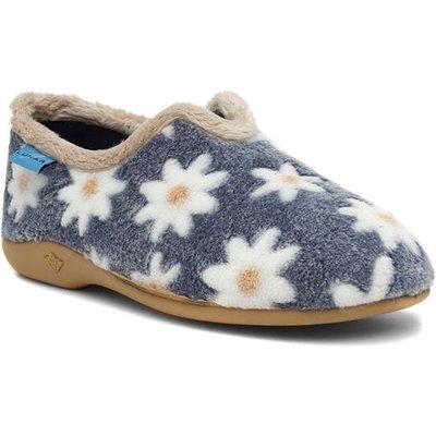 Lunar Daisy Womens Blue Floral Full Slipper