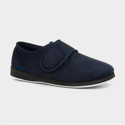 Padders Charles Mens Navy Easy Fasten Full Slipper