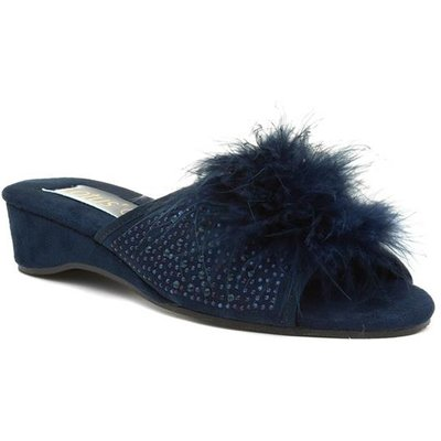Lotus Allure Womens Navy Wedge Open Toe Slipper
