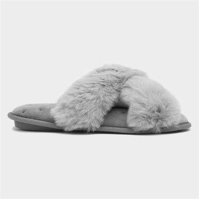 Caramia Womens Tan Faux Fur Mule Slipper