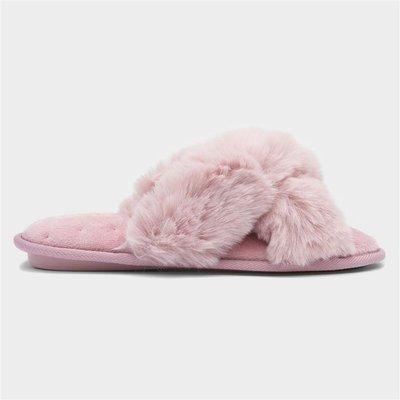 Caramia Womens Faux Fur Plum Mule Slipper