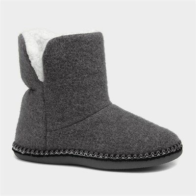 Caramia Womens Grey Bootie Slipper