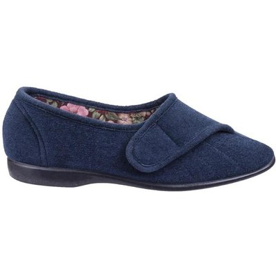GBS Womens Audrey Touch Fastening Blue Slipper