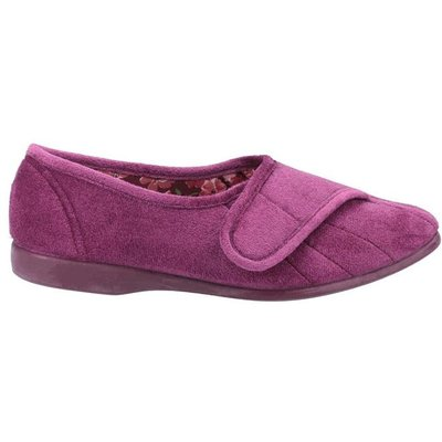 GBS Womens Audrey Touch Fastening Purple Slipper