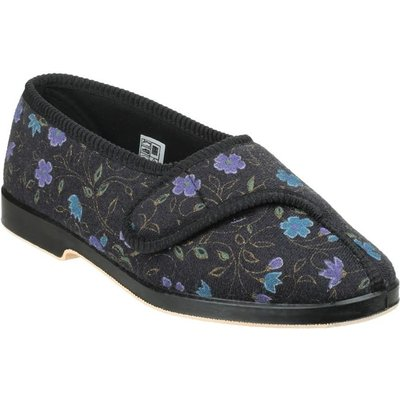 GBS Womens Wilma Wide Fit Slipper in Black