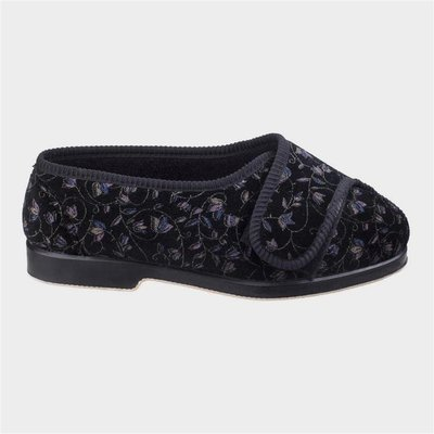 GBS Womens Nola Extra Wide Fit Slipper in Black