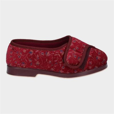 GBS Womens Nola Extra Wide Fit Slipper in Red