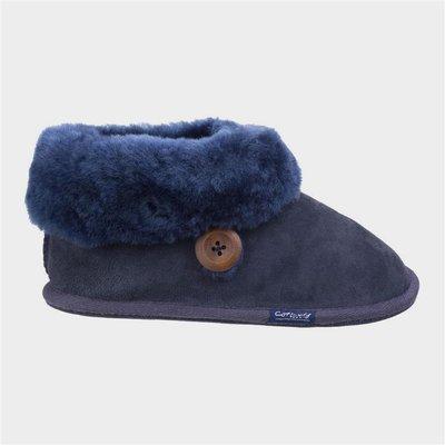 Cotswold Womens Wotton Sheepskin Bootie in Blue