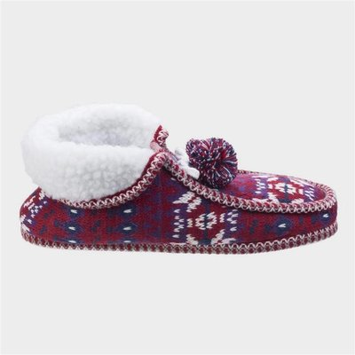 Divaz Womens Lapland Knitted Slipper in Red