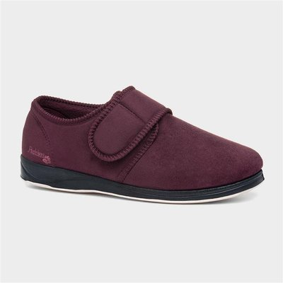 Padders Charles Mens Burgundy Touch Fasten Slipper