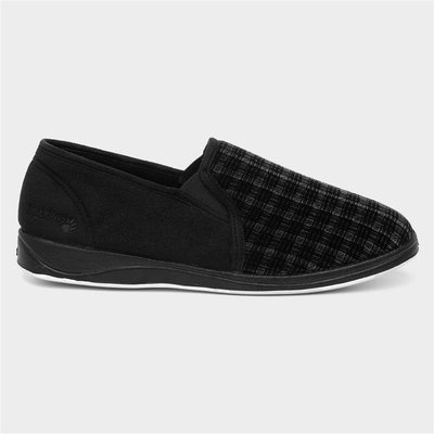 Padders Albert Mens Black Check Full Slipper