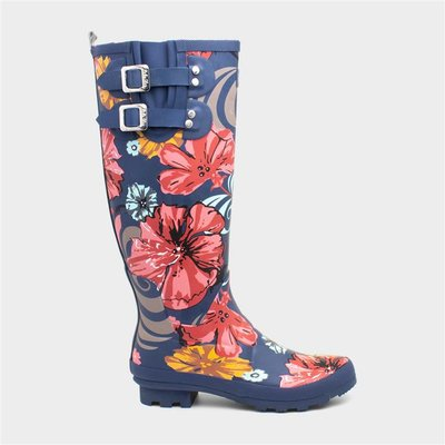 Ruby Shoo Esme Womens Navy Floral Wellington