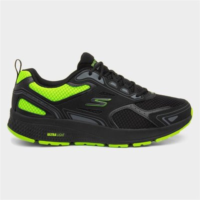 Skechers Go Run Black And Lime Mens Lace Up Trainer