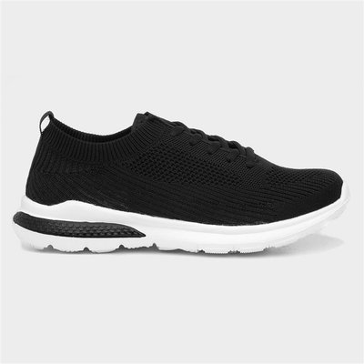 Womens Black Lace Up Trainers with Gripped Sole