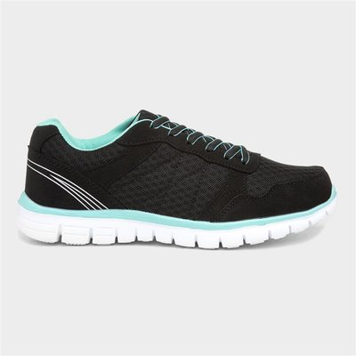Womens Black And Mint Lace Up Trainer