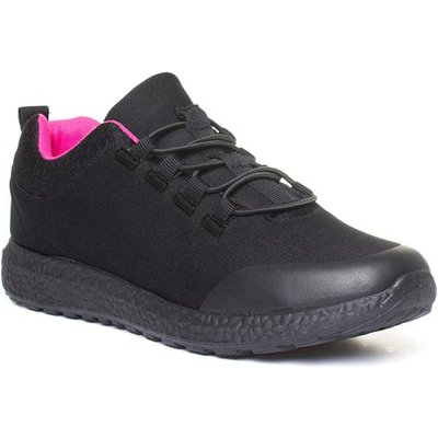 Womens Black And Pink Speed Lace Trainer