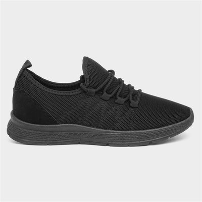 Womens Black Lightweight Lace Up Trainer