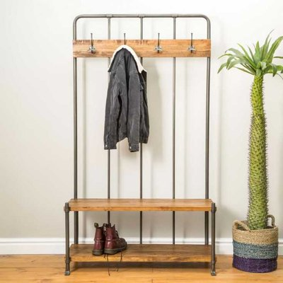 Vintage Entryway Coat Rack And Bench Seat