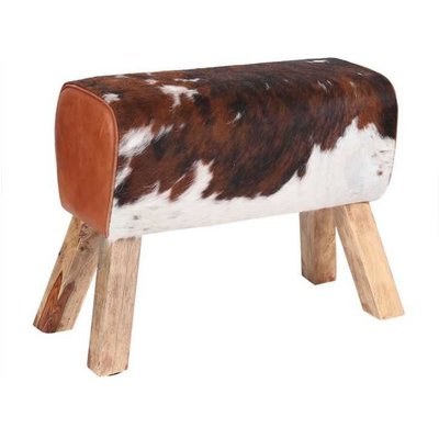 Cowhide And Leather Pommel Bench