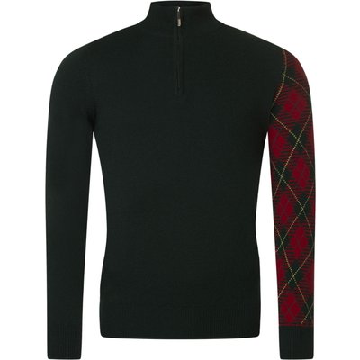 5053801017925 | Mens Great   British Knitwear Scotland 100  Lambswool Tartan Sleeve Zip Thru Sweater Store