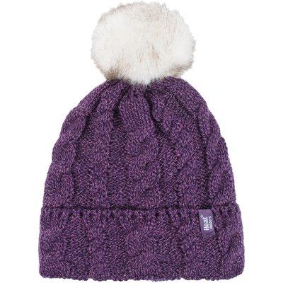 Ladies 1 Pack Heat Holders Heat Weaver Cable Knit Pom Pom Hat, Purple