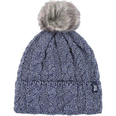 Ladies 1 Pack Heat Holders Heat Weaver Cable Knit Pom Pom Hat, Blue
