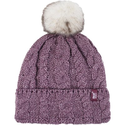 Ladies 1 Pack Heat Holders Heat Weaver Cable Knit Pom Pom Hat, Pink