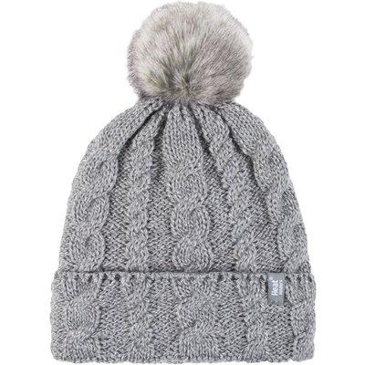 Ladies 1 Pack Heat Holders Heat Weaver Cable Knit Pom Pom Hat, Grey