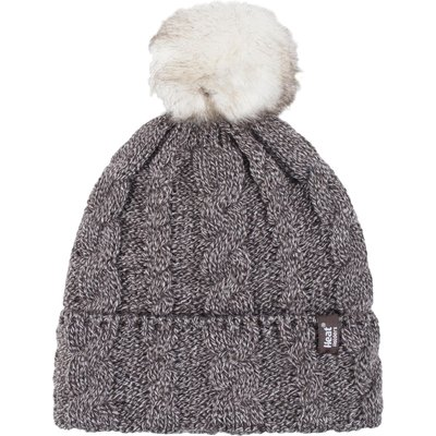 Ladies 1 Pack Heat Holders Heat Weaver Cable Knit Pom Pom Hat, Brown