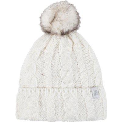Ladies 1 Pack Heat Holders Heat Weaver Cable Knit Pom Pom Hat, Cream