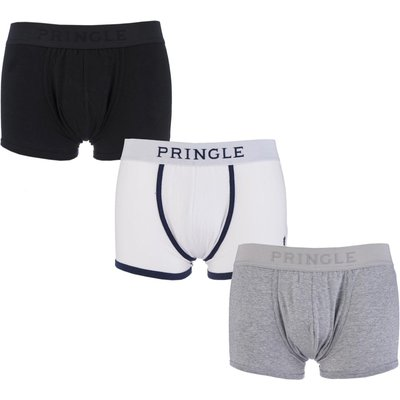 Mens 3 Pack Pringle Plain Cotton Boxer Shorts In Black  White and Grey - 5055300236753