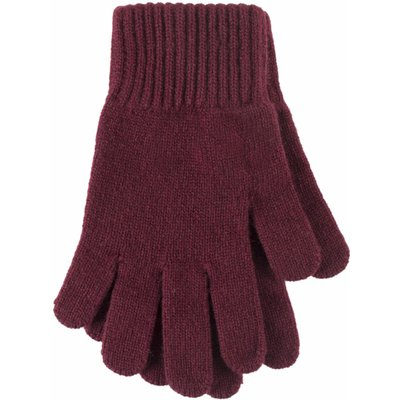 1 Pair Damson Made In Scotland 100% Cashmere Plain Gloves In Red Ladies One Size - Great & British K