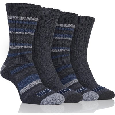 Mens 4 Pair Storm Bloc Ribbed Performance Boot Socks, Grey