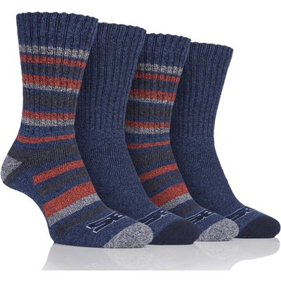 Mens 4 Pair Storm Bloc Ribbed Performance Boot Socks, Blue