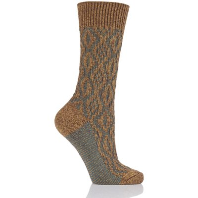 Ladies 1 Pair Scott Nichol Tatton Cable Stitch Wool Socks